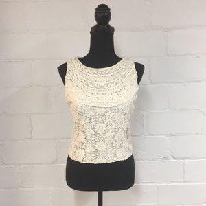 Alice + Olivia Tops - Alice + Olivia Crochet Embroidered Tank